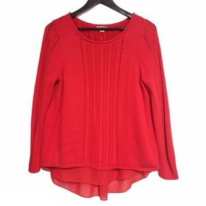 LUCKY BRAND Red Layered Open Split Back Sweater